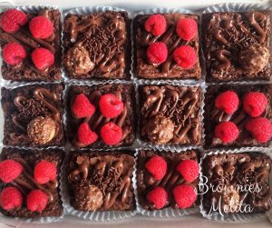 Brownies con nutella y frambuesas